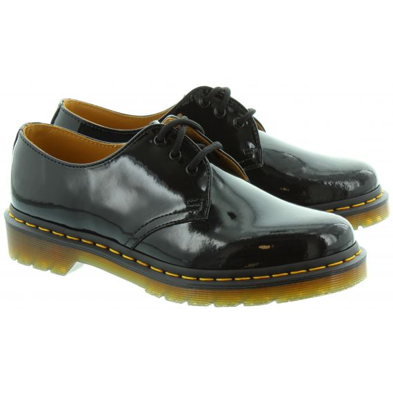 DR MARTENS Leather 1461Z Yellow Stitch Shoes in Black Patent