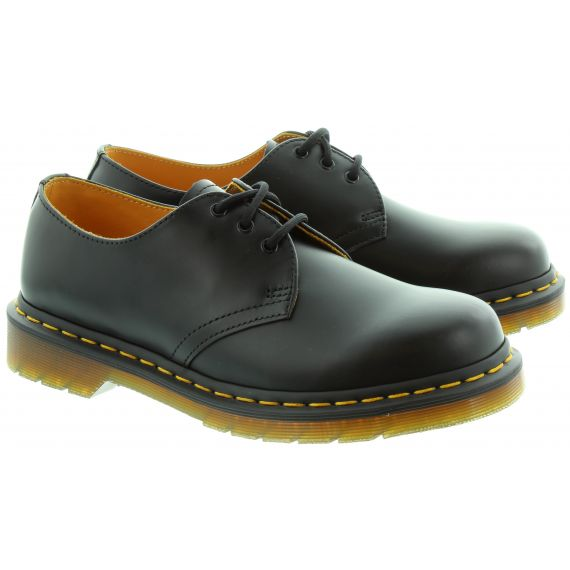 DR MARTENS Leather 1461Z Yellow Stitch Shoes in Black
