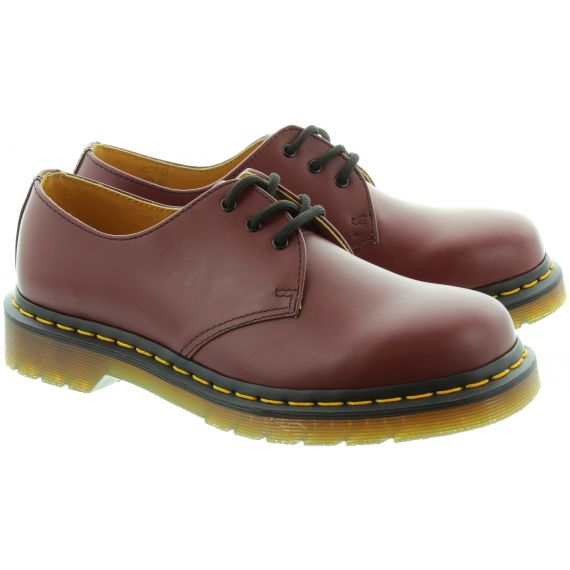 DR MARTENS Leather 1461Z Yellow Stitch Shoes in Cherry