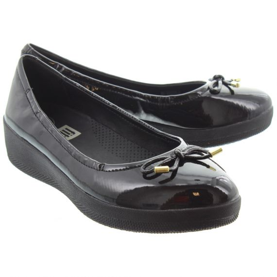 FITFLOP Ladies Superbendy Ballerina Pumps In Black Patent