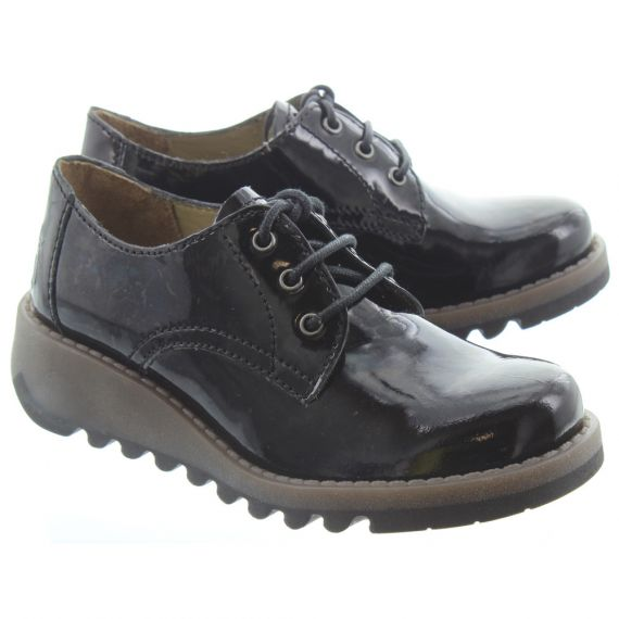 FLY Kids Simb Lace Shoes In Black Patent
