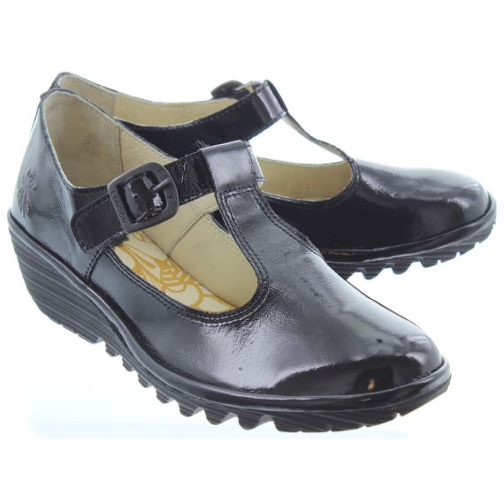 FLY Kids Yady T Bar Shoes In Black Patent