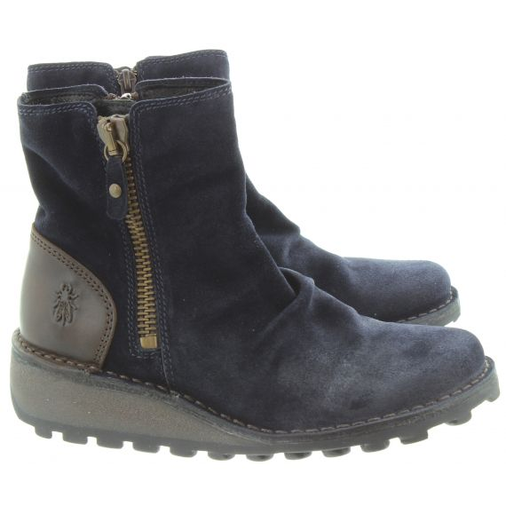 FLY Ladies Mon Suede Zip Boots In Navy