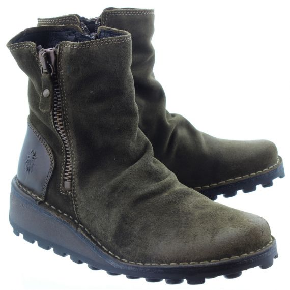 FLY Ladies Mon Suede Zip Boots In Olive