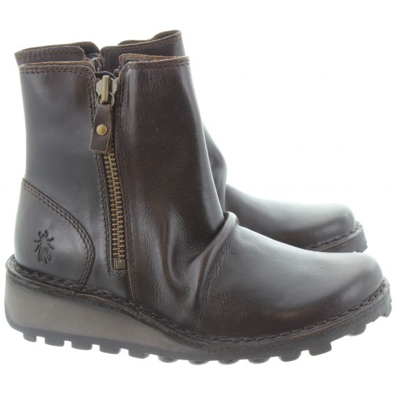 FLY Ladies Mon Zip Ankle Boots In Brown