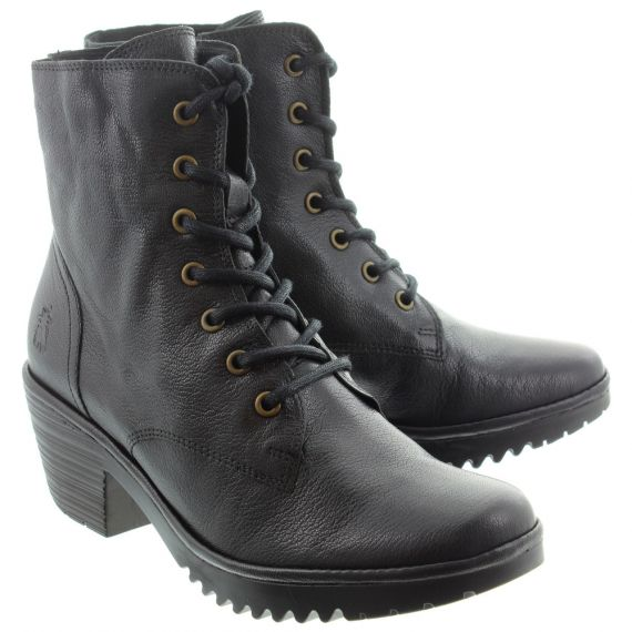 FLY Ladies Woke Lace Ankle Boots In Black
