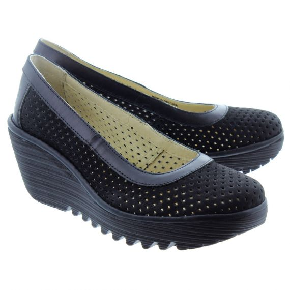 FLY Ladies Yobe Wedge Shoes In Black