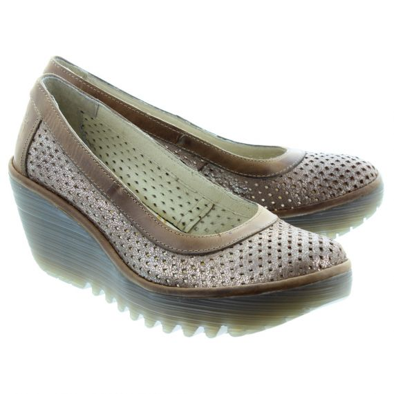FLY Ladies Yobe Wedge Shoes In Camel