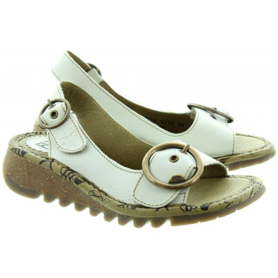 FLY Tram Buckle Sandals in off White