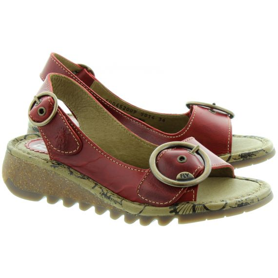 FLY Tram Buckle Sandals in Red