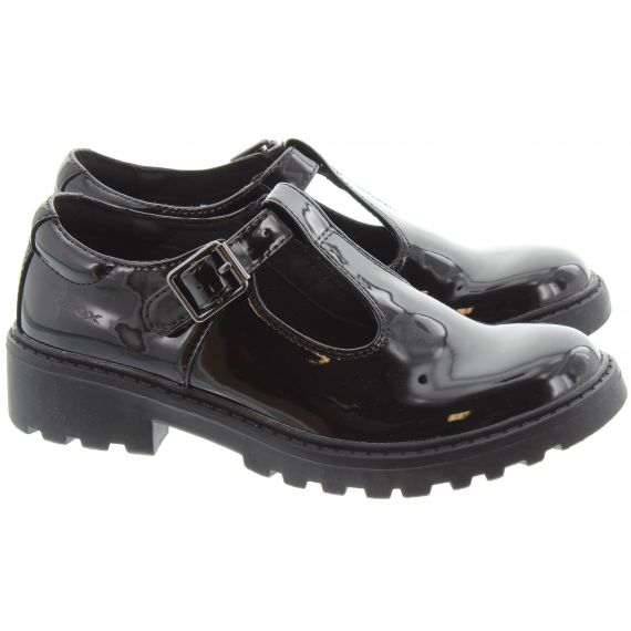 GEOX Casey T Bar In Black Patent
