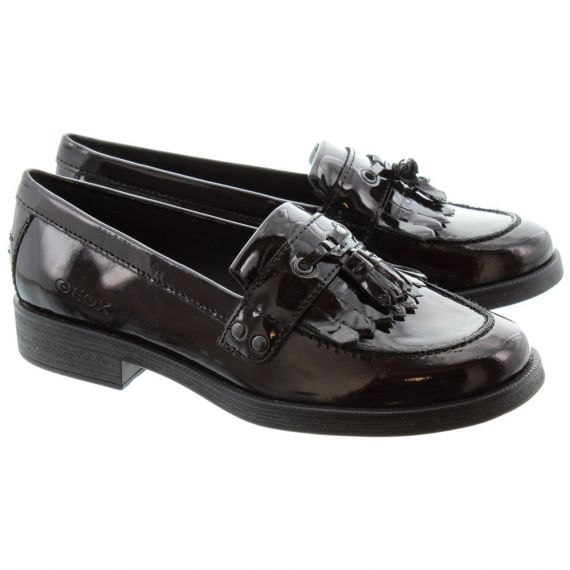GEOX Kids Agata Loafers in Black Patent