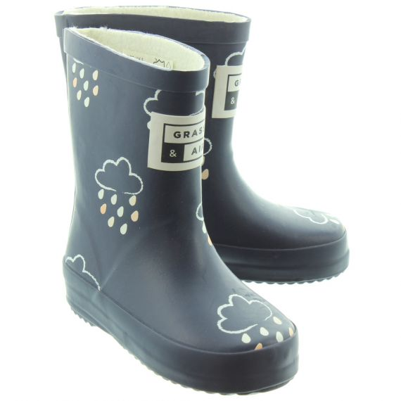 GRASS_AND_AIR Kids GA300 Colour Change Wellies In Navy