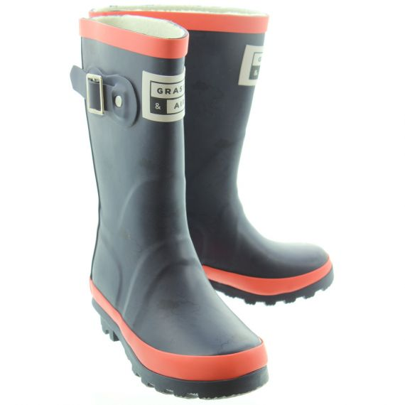 GRASS AND AIR Kids GA310 Wellington Boots In Coral
