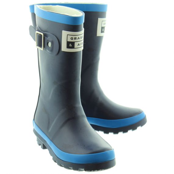 GRASS AND AIR Kids GA310 Wellington Boots In Navy