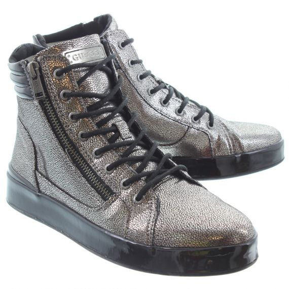 GUESS Ladies Vanda Lace Boots In Pewter