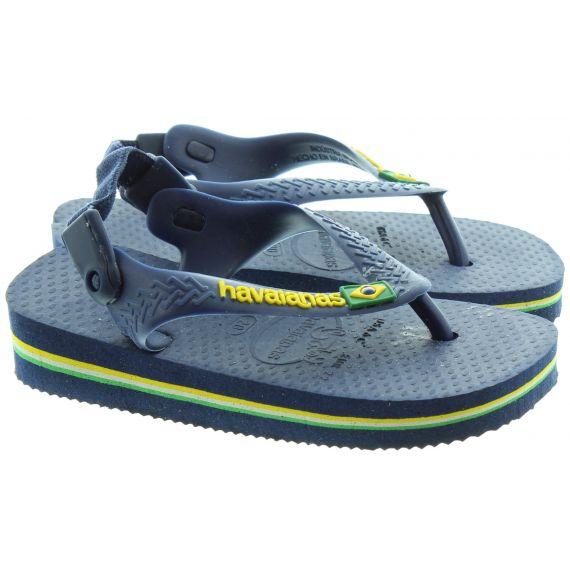 HAVAIANAS Baby Brazil Toe Post Sandals in Navy