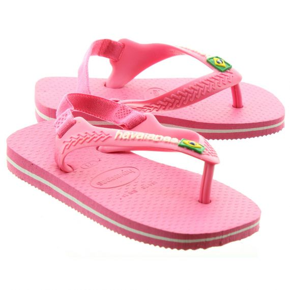 HAVAIANAS Baby Brazil Toe Post Sandals in Pink