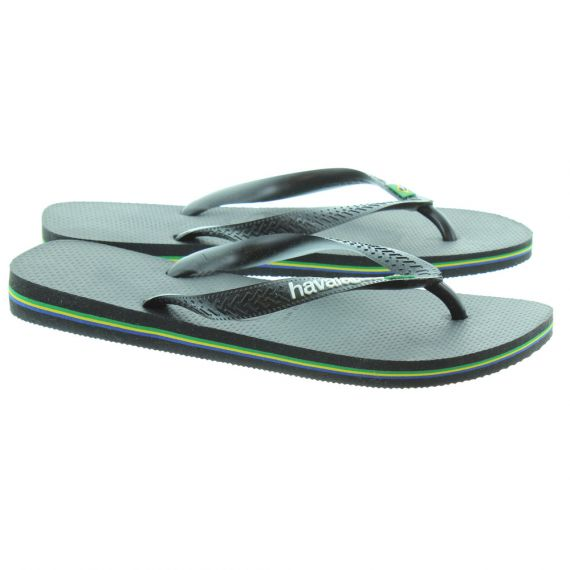 HAVAIANAS Brazil Logo Toe Post Sandals in Black