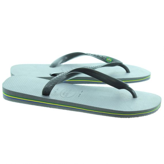 HAVAIANAS Brazil Logo Toe Post Sandals in Steel Grey