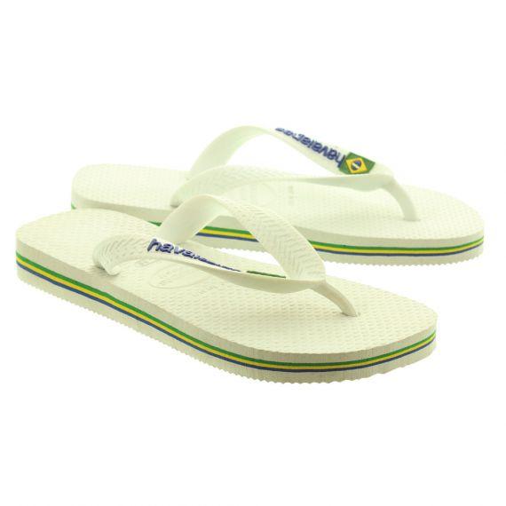 HAVAIANAS Kids Brazil Logo Toe Post Sandals in White