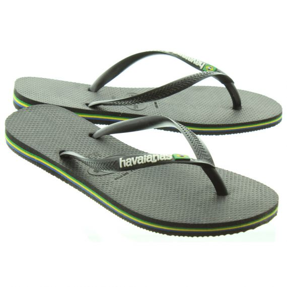 HAVAIANAS Ladies Slim Brazil Logo Sandals In Black