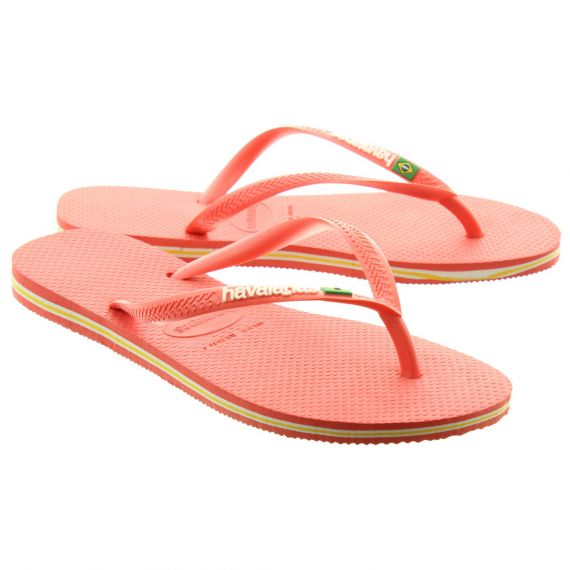 HAVAIANAS Ladies Slim Brazil Logo Sandals In Coral