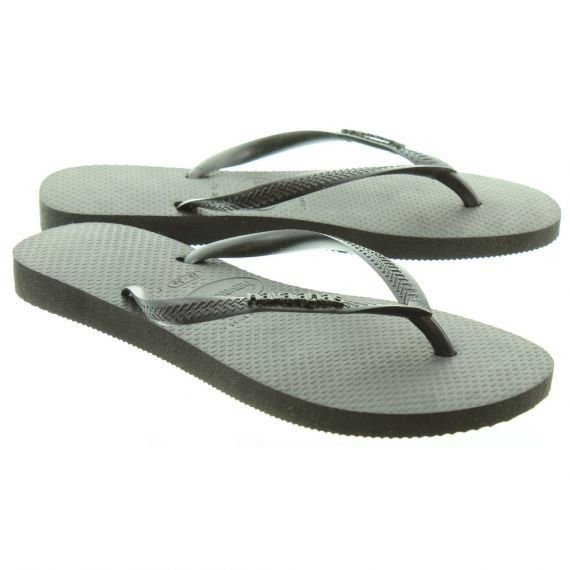 HAVAIANAS Ladies Slim Logo Metal Sandals In Black