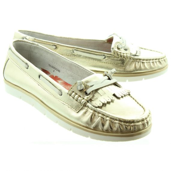 HEAVENLY FEET Ladies Cherry Fringe Loafers In Gold