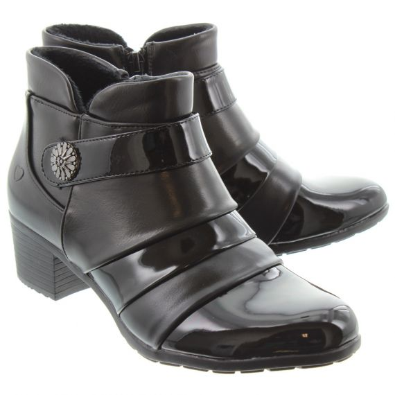 HEAVENLY FEET Ladies Claire Heeled Ankle Boots In Black Patent