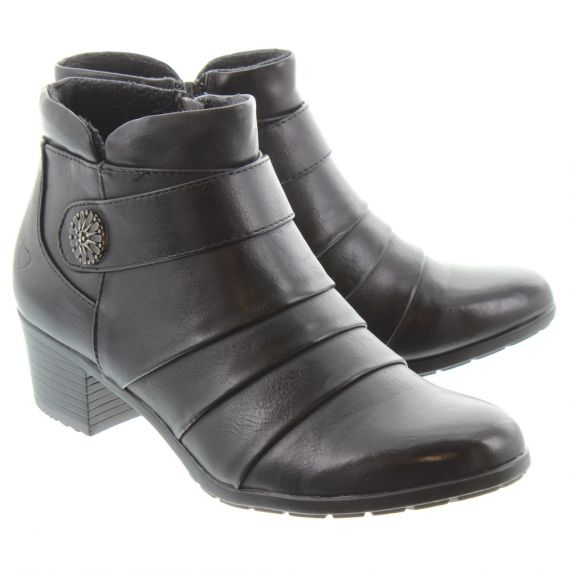 HEAVENLY FEET Ladies Claire Heeled Ankle Boots In Black