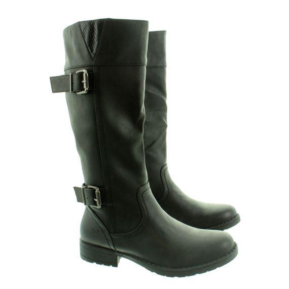 HEAVENLY FEET Ladies Lucie Buckle Knee Boots In Black