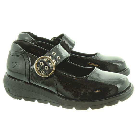 HEAVENLY FEET Ladies Magnolia Flat Bar Shoes In Black Patent