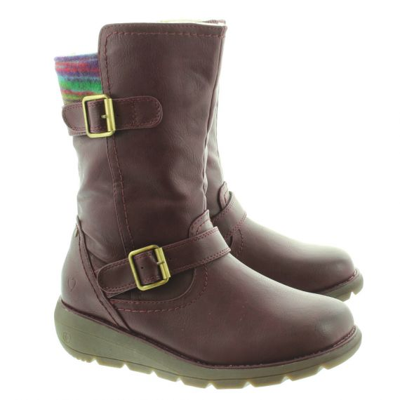 HEAVENLY FEET Ladies Pacific 2 Calf Boots In Berry