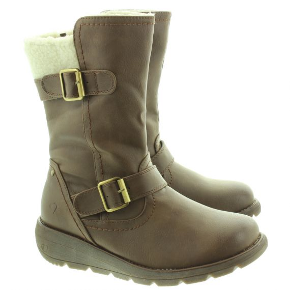 HEAVENLY FEET Ladies Pacific 2 Calf Boots In Chocolate