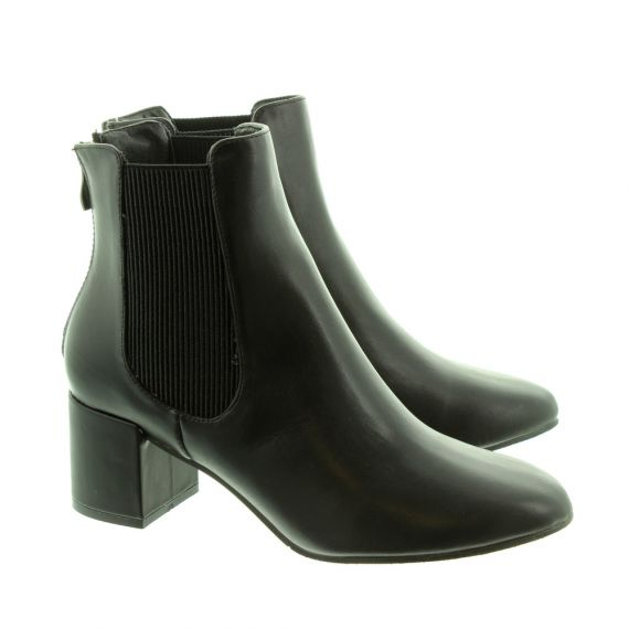 HEAVENLY FEET Ladies Wave Heeled Ankle Boots In Black