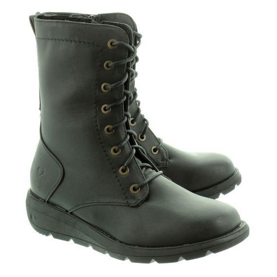 HEAVENLY FEET Walker 2 Lace Ankle Boots in Black