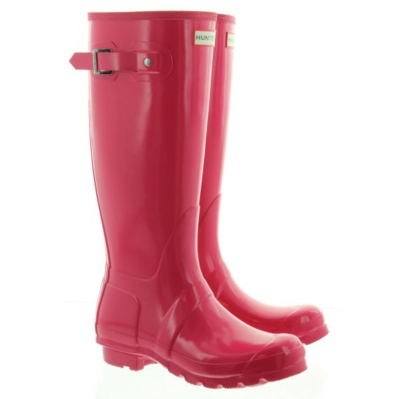HUNTER Gloss Hunter Rubber Wellingtons In Pink