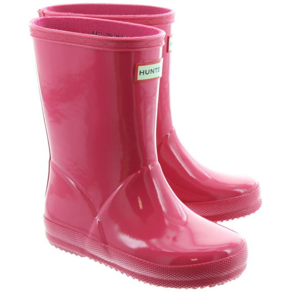 HUNTER Kids First Gloss Wellingtons In Pink