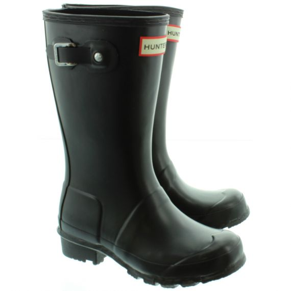 HUNTER Kids Rubber Young Hunter Wellingtons in Black