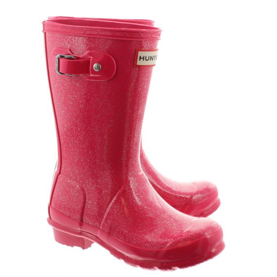 HUNTER Kids Young Glitter Welingtons In Mosse Pink