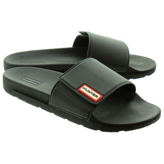 HUNTER Ladies Adjustable Slide Mules In Black.