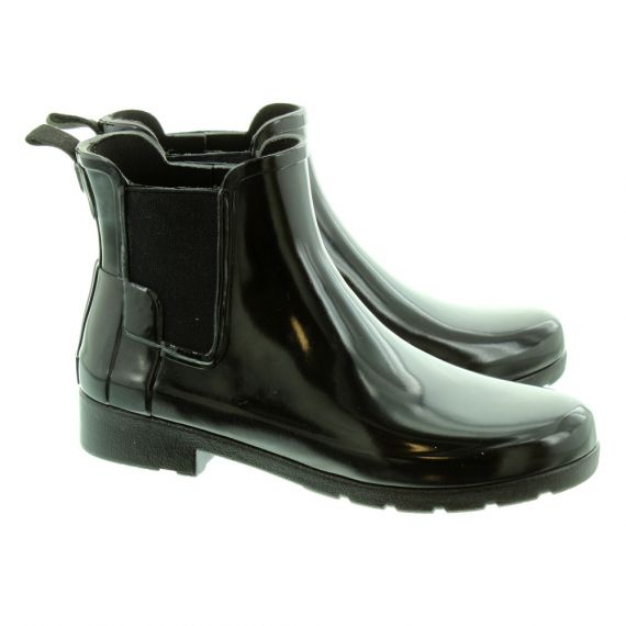 HUNTER Ladies Refined Chelsea Boots In Black