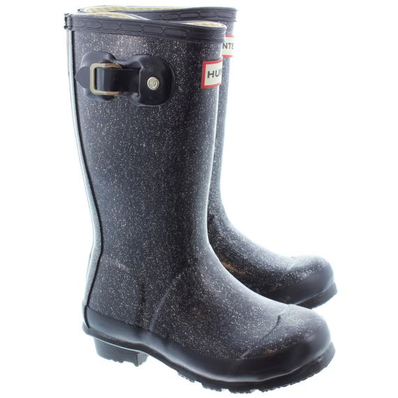 HUNTER Rubber Young Glitter Wellingtons In Navy