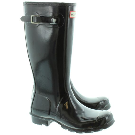 HUNTER Rubber Young Gloss Wellingtons in Black