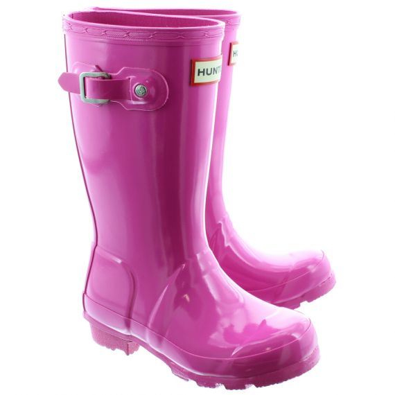 HUNTER Rubber Young Gloss Wellingtons ) in Lipstick Pink