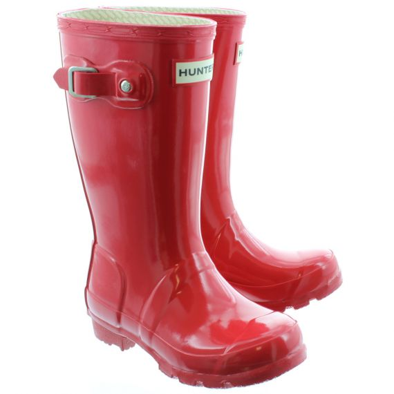 HUNTER Rubber Young Gloss Wellingtons in Red