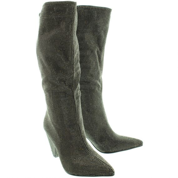 INUOVO Ladies 21004 Diamante Knee Boots In Pewter