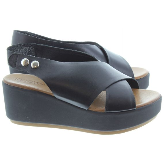 INUOVO Ladies 8697 Wedge Sandals In Black