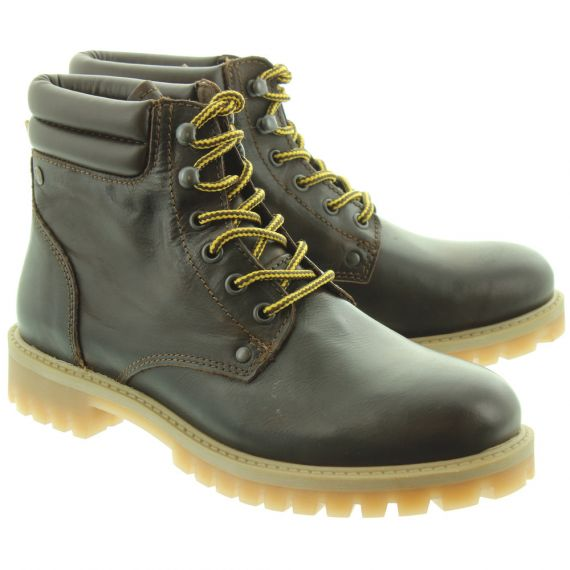 JACK_AND_JONES Mens Stoke Lace Boots In Brown